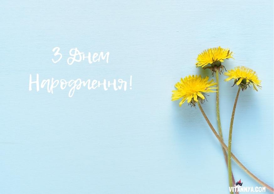 Привітання з днем народження українською мовою, листівка