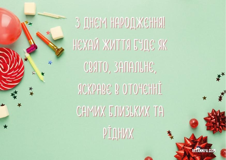 Вітальна листівка з днем народження просте привітання
